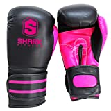 Sharkboxing SKF Guantes de Boxeo, Unisex Adulto, Negro/Rosa, 12 oz